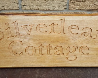 Custom Large Engraved OAK House Name Address Number Sign Plaque - Natural Look or Painted - Outdoor Sign Hard wood