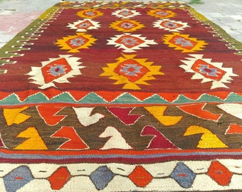 Armenian Antique 1900s Flat Woven 4'7''x10' Textile Classic Tribal Patterned