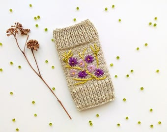 Knitted iPhone Pouch Embroidered With Spring Flowers,Phone Case, Handmade,Apple iPhone 6, Apple iPhone 6S, Apple iPhone 7, Samsung Galaxy S4