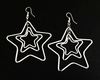 Silver Star Earrings,Stars Dangle Earrings,silver Dangle Earrings ,Dangle earrings,Chandelier earrings,Women Dangle,Long Chandelier Earrings