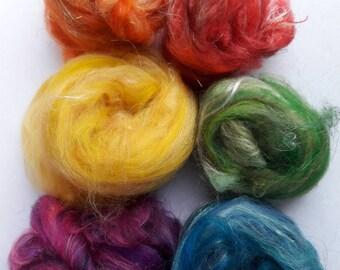 Spinning fiber - Textured fiber nests - Merinos, flax, silk, locks - 120gr (6 x 20gr) - Pack of the 6 colors - 50 shades of texture