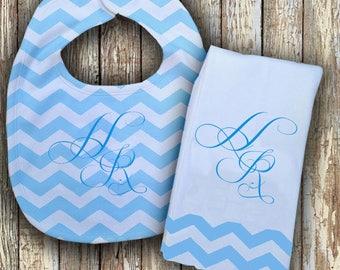 Prissy Monogrammed Baby Bib with matching Burp Cloth Set (Blue)