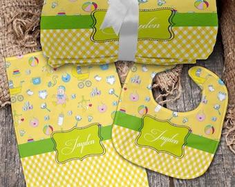 Neutral Bliss 3 Piece Monogrammed Baby Set (Blanket, Bib, Burp Cloth)