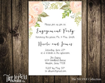 Watercolor Floral Engagement Party Invitation - Floral Engagement Party - Floral Watercolor - Simple Engagement Party Invitation