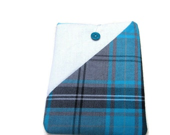 """Turquoise tartan case for 6"""" tablets, Kobo Aura pouch, Kobo wallet, Kobo touch case, Kobo glow cover, plaid Kindle voyage, Kindle touch case"""