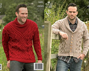 """King Cole Knitting Pattern 3602~Man's Cabled Sweater & Cardigan~Aran~38-46"""""""