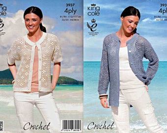 King Cole Crochet Pattern 3937~Lady's Cardigans~4ply~32-46""