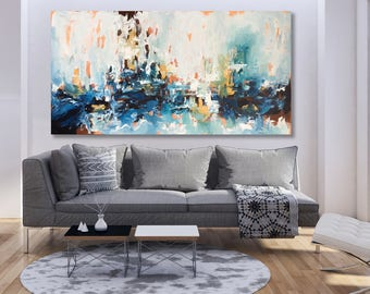 LARGE ABSTRACT Painting, Blue Green Abstract Art, Modern Art Canvas Painting, Original Acrylic Painting, Wall Art, Wall Decor Home Interiors