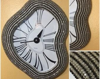 Melting Clock / Rhinestone Clock / Wall Clock / Unique Clock / Dali / Dali Clock / Present / Gift / Black Clock / Holidays