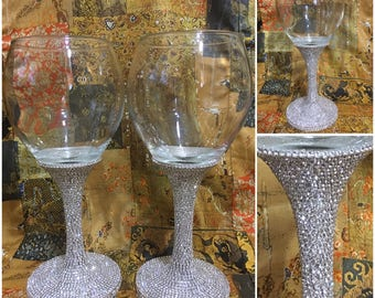 Wine Glass / Unique Wine Glass / Bling Glass / Bling Wine Glass / Wedding Wine Glass / Wine Glass / Wine Glass Set /