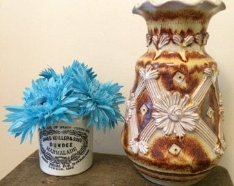 Beautiful Italian Earthenware Vase with Flower Design - Brown and Cream - Earth Tones.