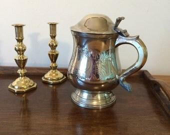 Antique Silver Plated Lidded Tankard - Vintage Beer Stein - Metal Drinking Vessel - Engraving - Gift for Him