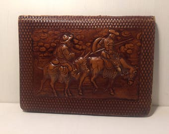 Don Quixote Brown Embossed Leather Folder - Notebook Holder - Spanish Folk Lore - Vintage Office - Spanish Folk Folder - Craft