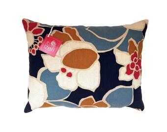 Mid Century Pillow | Flower Pillow | Retro Pillow | Waverly Fabric Pillow | Throw Pillow | 12x16 inch Pillow Cover Insert