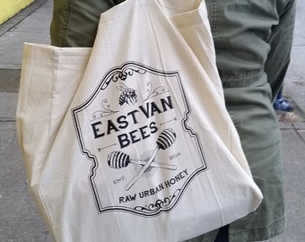 Vintage Honey Label Canvas Tote Bag 100% Cotton Muslin w/long handles