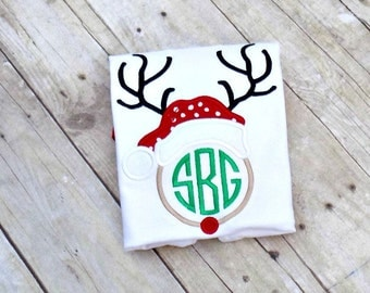 Girls Christmas Day Shirt, Monogrammed Reindeer Shirt, Red, Green, Polka Dots Girls, Toddlers, Infants, Personalized, Embroidered, Appliqued