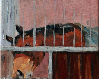 """small oil painting of a horse, """"begging horse"""", 8x8 inch, 20x20 cm, oil on stretched canvas"""