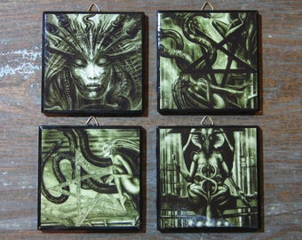 H.R. Giger Surrealist Witchcraft Set of 4 Ceramic Tile Wall Art / Drink Coasters, Handmade