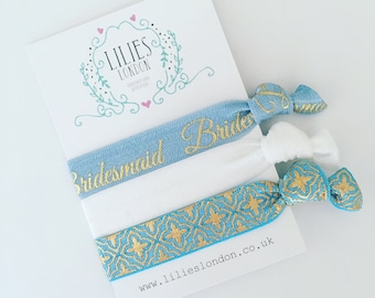 Bridesmaid hair ties, blue hairbands, pastel hairties, bridal party favour, bachelorette gift, bridesmaid bracelet, stretchy hair ties