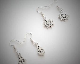 Anchor/Ship Wheel Earrings, Silver Anchor/Ship Wheel Helm Earrings, Antique Sailor Earrings, Nautical Earrings, Small Dainty Earrings