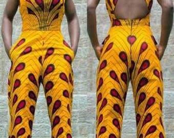 Zizibespoke  Wideleg Jumpsuit|| Blue Ankara Jumpsuits, Bright African Jumpsuits, African Print Jumpsuits, White African Print Jumpsuit