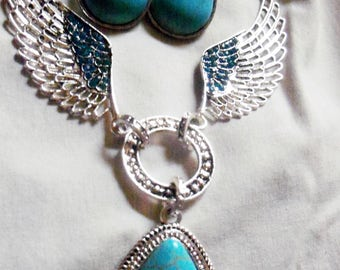 Native American Turquoise & Silver Tone WingTear Drop Pendant Necklace and Earrings