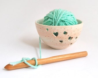 Ceramic Yarn Bowl, Knitting Bowl, Hand Painted with Hearts in Pink Color. Made To Order