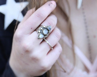 Blaze Ring - Ring Moonstone Navajo Chunky Ring Boho Statement Ring Gypsy Jewelry Festival Jewelry Ring Tribal Jewelry Tribal Ring