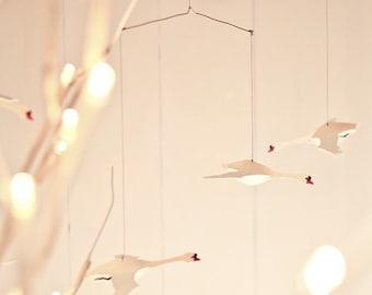 Swan mobile, kinetic art, hanging mobile, paper sculpture, present, mindfulness present, valentines present, home decor