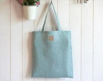 Tote bag, sac pour les courses, en lin vert d'eau, élégant, léger, résistant et écologique