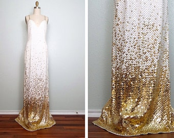 VTG Glam White & Gold Sequined Gown // Open Back White Sequin Gold Beaded Fully Embellished Dress US 2 / 4
