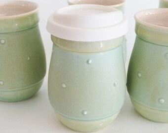 Türkis Keramik Becher mit Silikon-Deckel, Keramik, gehen Kaffeebecher, 16 Unzen Eco Becher, kleine Pendler Becher, gemacht um zu bestellen