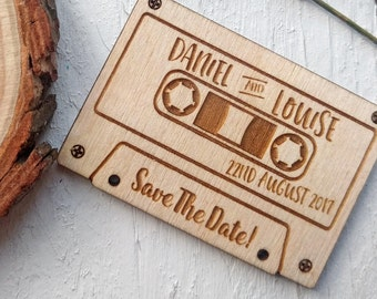Save The Date Magnet - Retro Mix Tape - Rustic Wedding Save The Date Tags - Wooden Save The Date Magnets - Music Themed Wedding Invitation