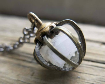 Moonstone Boho Gemini Sign Necklace June Moon Rustic Cage Raw Crystal Birthstone Birthday Gifts Mom Girlfriend Gemstone Jewelry cage Pendant