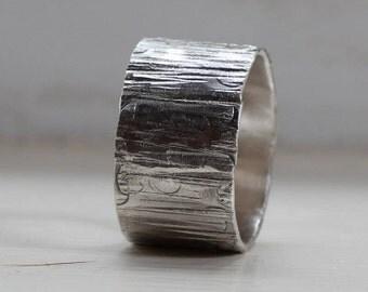 Mens Ring Wood Grain on Sterling Unique Wedding Ring Tree Bark