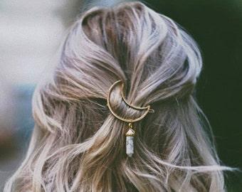 Crystal Moon Hair Clip- Golden Barette Clear Rock Stone Tumblr Accessory Womens Jewellery Unique Handmade Jewelry Boho Hippie Bohemian Hip