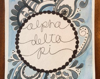 Alpha Delta Pi watercolor print