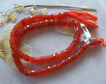 "Carnelian Gemstone Faceted Chunky Heishi Rondelle Beads ~ 15"" Strand ~ 6mm"