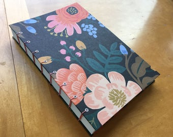 Earthy Floral Sketchbook // Handmade Coptic Stitch Journal // Beautiful Hardcover Notebook // Dark Brown, Pink, Red, Blue // Unique Gifts