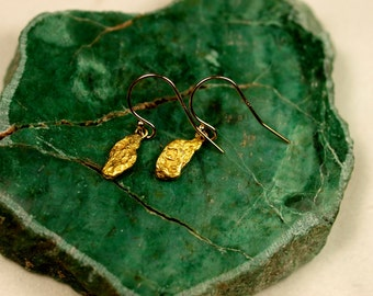 Gold Nuggets Earrings - Dangle Earrings - California Placer Gold - Natural Gold Nugget Jewelry - 14k Hooks with Real California Gold