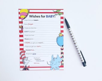Dr Seuss Baby Shower Games / Dr. Seuss Baby Shower Wishes For Baby / Wishes For Baby Game / Baby Shower Game / Dr Seuss Letter To Baby