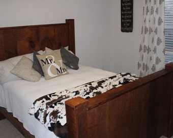 Custom Made Queen Size headboard footboard and side rails. Buyer Pays Actual Shipping ..contact us prior to purchase