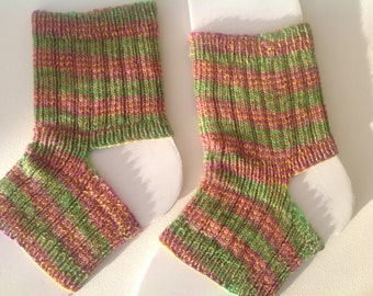 Yoga socks, exercise socks  in merino, silk and yak yarn . Soft yoga socks, green, mauve ,gold , teal stripes.