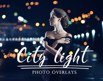 40 City Light photo overlays, Bokeh overlays, photoshop overlays