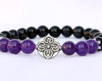 mom gift for mom girlfriend gift Gemstone Jewelry Healing Jewelry Floral jewelry Flower Jewelry amethyst bracelet amethyst Jewelry mom brace