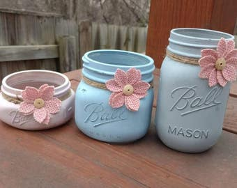 Mason Jar Desk Set, Desk Set, Mason Jar Office, Shabby Chic Desk Set, Mason Jar Office Set, Office Set, Desk Decor, 3pc Desk Set, Mason Jar