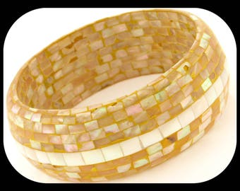 "Vintage 1 1/8"" Wide & Heavy Inlay Mosaic Mother of Pearl BANGLE"