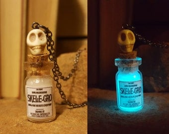 Free Shipping - Skele-Gro Harry Potter Glass Bottle Necklace Glow in the Dark with Skull on Chain or Suede Cord