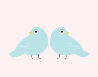 """Wall Art Print, """"Bird Pals"""" Print, Bird Print, Modern Wall Art, Pastel Print"""