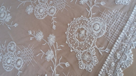 Lace, Bridal Lace, Beaded Lace, Lace Fabric, Beaded Fabric, Beaded Material, Beaded Tulle, White Applique, Beaded Appliques